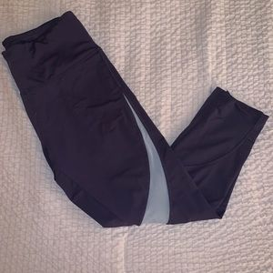 MARIKA Purple Navy Blue Workout Cropped Leggings